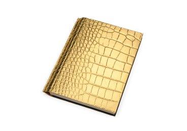 Ежедневник золотистый с кожаной обложкой
