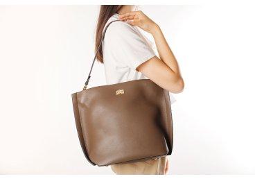 Сумка шоппер кожаная Estro коричневая ER00106376