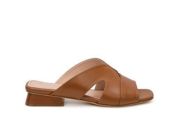 Шлёпанцы кожаные Evaluna Jessy коричневые ER00107805