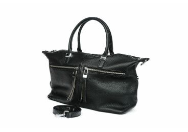 Сумка шоппер кожаная Estro черная ER00105341