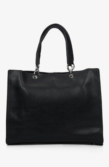 Сумка шоппер кожаная Estro черная ER00107209